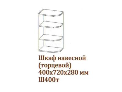 Арабика Шкаф навесной 400_720 торцевой Ш400т_720 400х720х280 Серый