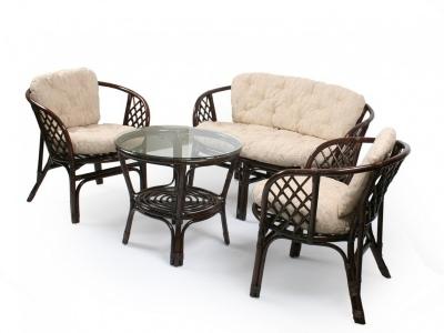 Комплект Багама с диваном темно-коричневый подушки светлые