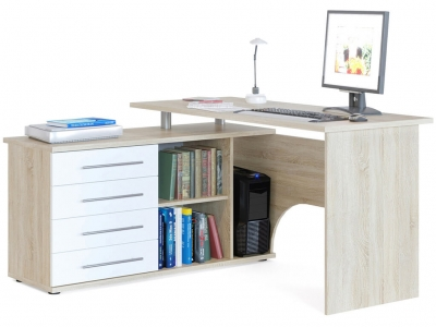 Компьютерный стол Сокол КСТ-109 левый Дуб Сонома/Белый