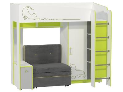 Кровать 11.20 Альфа Зелёный лайм с диваном