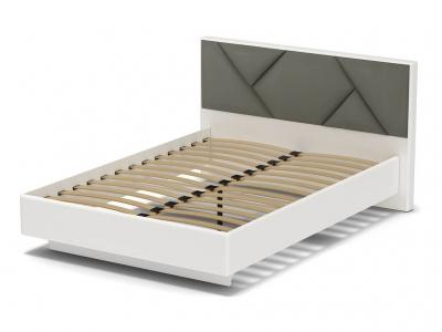 Кровать 140 Аида с основанием Белый - МДФ Топлёное молоко - ткань Энигма серебро