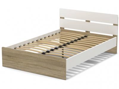 Кровать 140 Эксон с основанием Белый - Дуб Сонома