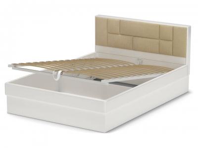 Кровать 140 Офелия ПМ Белый - МДФ Топлёное молоко - ткань Энигма варм бежевый