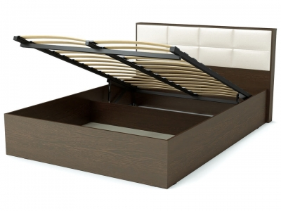 Кровать 140 Сонет ПМ Венге - эко-кожа белая