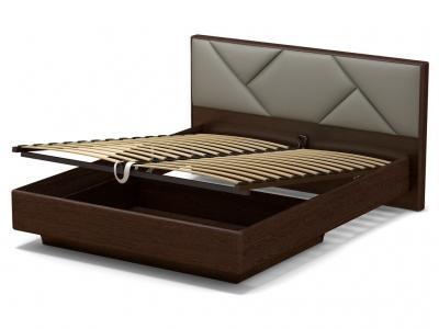 Кровать 160 Аида ПМ Венге - МДФ Орех премиум - ткань Энигма серебро