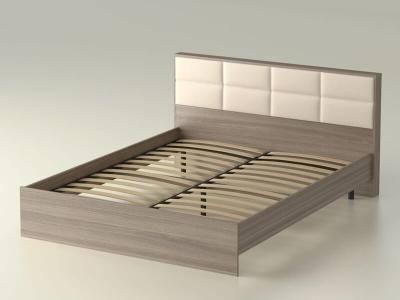 Кровать 160 Сонет с основанием Ясень шимо тёмный - эко-кожа бежевая