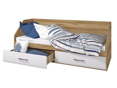 Кровать 800 2 ящика Ненси дуб золотой-белый