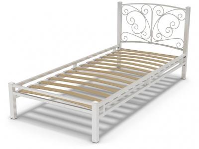 Кровать 90 Фантазия-1 металлическая Белый глянец