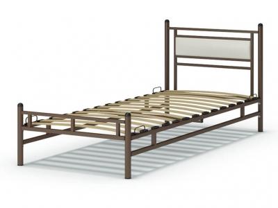 Кровать 90 Мелина металлическая Венге - эко-кожа