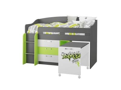 Кровать-чердак малый Граффити