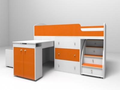 Кровать-чердак Малыш белое дерево-оранжевый