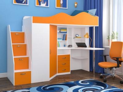 Кровать-чердак Пионер белое дерево-оранжевый