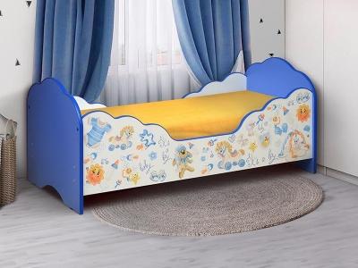 Кровать детская с бортом Малышка №3 синяя с фотопечатью