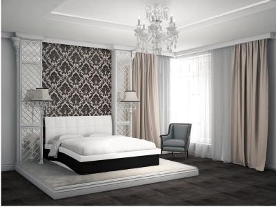 Кровать Domenic белая спинка-черные царги