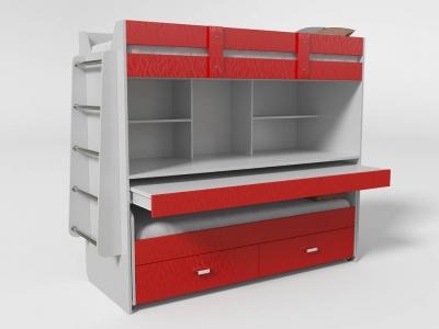 Кровать двухъярусная №2 с ящиком красная