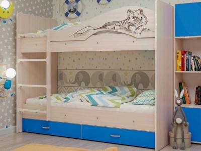 Кровать двухъярусная Мая-Сафари с ящиками дуб-синий