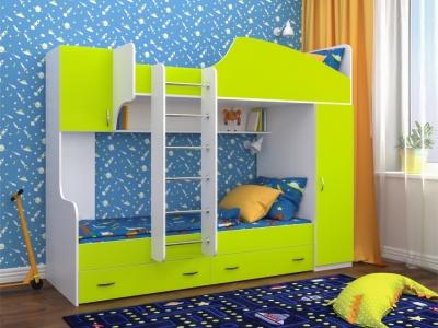 Кровать двухъярусная Юниор 2 белое дерево-лайм