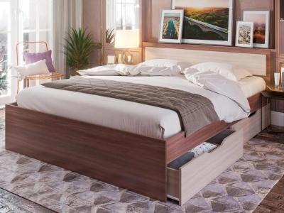 Кровать Гармония КР 608 с ящиками шимо темный-шимо светлый