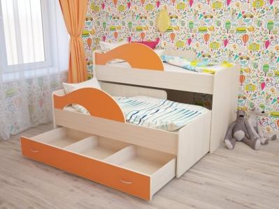 Кровать выкатная Радуга с ящиками дуб-оранж