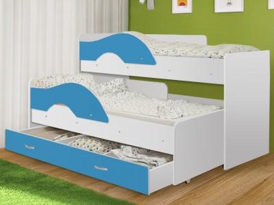 Кровать выкатная Радуга с ящиком белый-синий