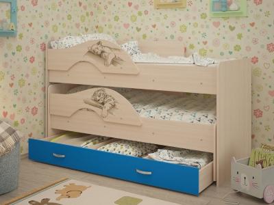 Кровать выкатная Радуга-Сафари с ящиками дуб-синий