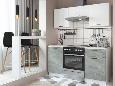 Кухня Дуся-2 1600 Белый глянец-цемент