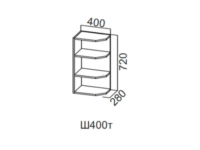Кухня Геометрия Шкаф навесной торцевой 400 Ш400т 720х400х280мм