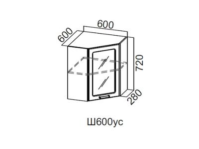 Кухня Геометрия Шкаф навесной угловой со стеклом 600 Ш600ус 720х600х600мм