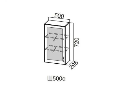 Кухня Прованс Шкаф навесной со стеклом 500 Ш500с-720 720х500х296мм