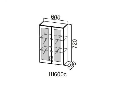 Кухня Прованс Шкаф навесной со стеклом 600 Ш600с-720 720х600х296мм