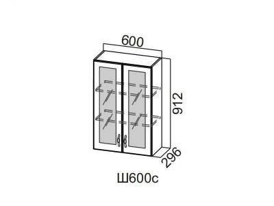 Кухня Прованс Шкаф навесной со стеклом 600 Ш600с-912 912х600х296мм