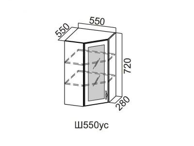 Кухня Прованс Шкаф навесной угловой со стеклом 550 Ш550ус-720 720х550х600мм