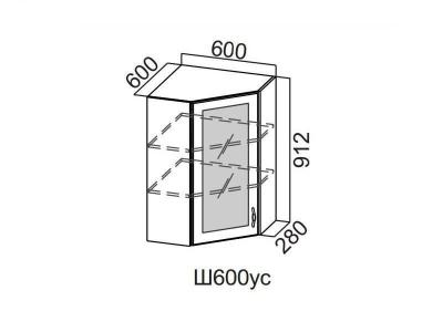 Кухня Прованс Шкаф навесной угловой со стеклом 600 Ш600ус-912 912х600х600мм