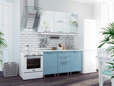 Кухонный гарнитур Бьянка 1500 голубые блестки/фотопечать