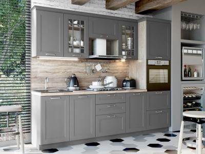 Кухонный гарнитур Одри 2,55 Серый шелк