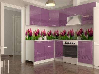 Кухонный гарнитур Волна фиолетовый металлик 2100х1600