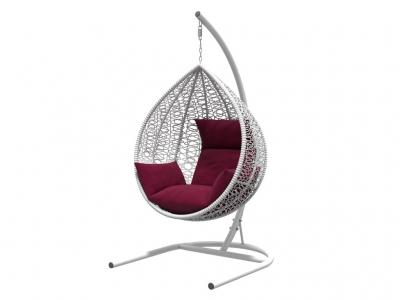 Подвесное кресло Бароло белая рама подушки бордовый