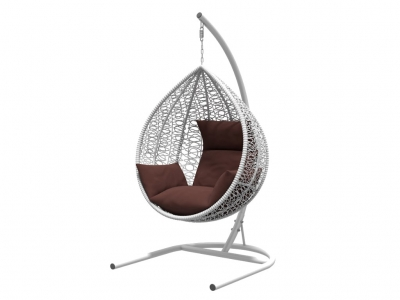 Подвесное кресло Бароло белая рама подушки шоколад