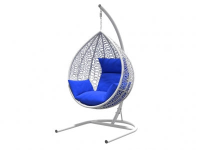 Подвесное кресло Бароло белая рама подушки синие