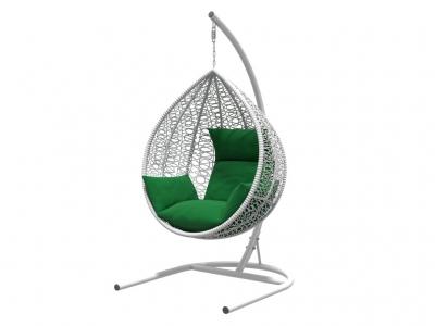 Подвесное кресло Бароло белая рама подушки зеленые