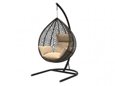 Подвесное кресло Бароло черная рама подушки бежевые