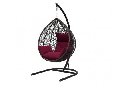Подвесное кресло Бароло черная рама подушки бордовые