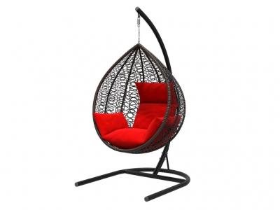 Подвесное кресло Бароло черная рама подушки красные