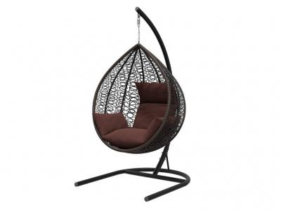 Подвесное кресло Бароло черная рама подушки шоколад