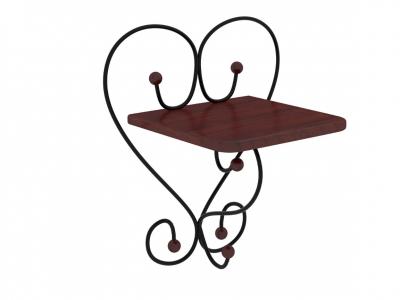 Полка настенная Милсон коричневая-металл черный