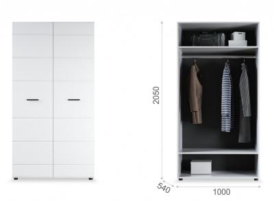 Распашной шкаф Йорк 2дв Белый/белый глянец