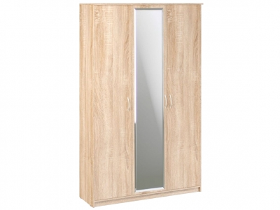 Шкаф 3-х створчатый Дуэт Люкс 1415х450х2300 с зеркалом Дуб Сонома светлый
