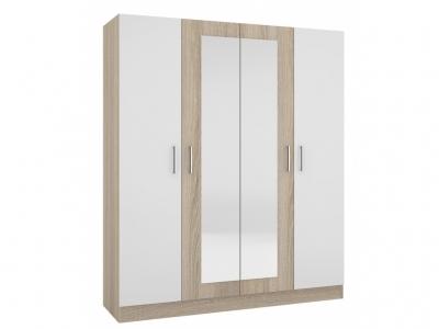 Шкаф четырехстворчатый Леси Сонома-Белый