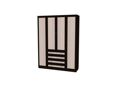 Шкаф для белья с полками и ящиками артикул 110 венге