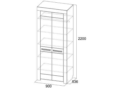 Шкаф двухстворчатый Лагуна 6 900х2200х536